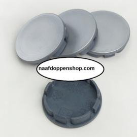 Set van 4 zilvergrijze naafdoppen, buitenmaat 60 mm en klemmaat 55 mm
