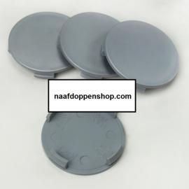 Set van 4 zilvergrijze naafdoppen, buitenmaat doorsnede 55,5 mm en klemmaat 55 mm