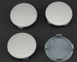 Set van 4 zilvergrijze naafdoppen, buitenmaat 56  mm en klemmaat 52 mm