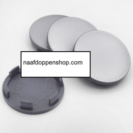 Set van 4 zilvergrijze naafdoppen, buitenmaat doorsnede 60 mm en klemmaat 56 mm