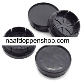 Set van 4 zwarte naafdoppen, buitenmaat doorsnede 49 mm en klemmaat 42,5 mm