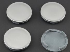 Set van 4  zilvergrijze naafdoppen, buitenmaat 55,5  mm en klemmaat 51,5 mm