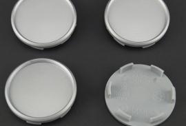 Set van 4 zilvergrijze naafdoppen, buitenmaat 68 mm, klemmaat 62,5 mm