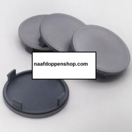 Set van 4 zilvergrijze naafdoppen, buitenmaat doorsnede 64 mm en klemmaat 61,5 mm