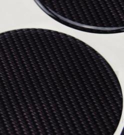 Carbonlook zwarte siliconen stickers, set van 4, zelfklevend, 65 mm doorsnede