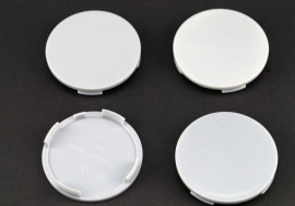 Set van 4 grijze naafdoppen, buitenmaat 64 mm en klemmaat 61,5 mm