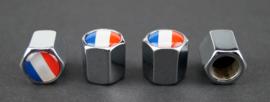 Set van vier ventieldopjes met logo Nederlandse vlag