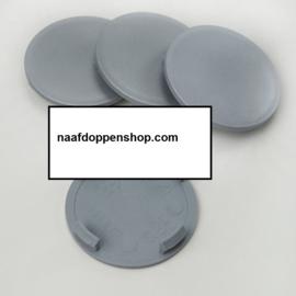 Set van 4 zilvergrijze naafdoppen, buitenmaat doorsnede 59,5 mm en klemmaat 56 mm