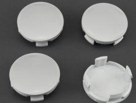 Set van 4 zilvergrijze naafdoppen, buitenmaat 62 mm en klemmaat 59 mm