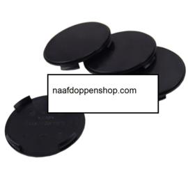 Set van 4 zwarte naafdoppen, buitenmaat doorsnede  63,5 mm en klemmaat 61,5 mm