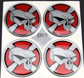 Siliconen logostickers doodskop motief rood/zilver, set van 4, zelfklevend, 60 mm doorsnede