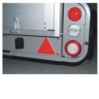 Set van twee driehoekige rode reflectors, 150 mm bij 150 mm bij 150 mm