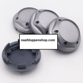 Set van 4 zilvergrijze hoger model naafdoppen, buitenmaat doorsnede 67,5 mm en klemmaat 62,5 mm