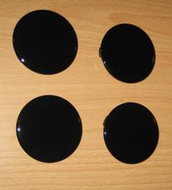 Set van 4 naafdoppen met glanzend zwart siliconen embleem, buitenmaat 60 mm en klemmaat 55 mm