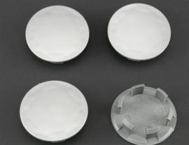 Set van 4 zilvergrijze naafdoppen, buitenmaat 59,5 mm en klemmaat 46,5 mm