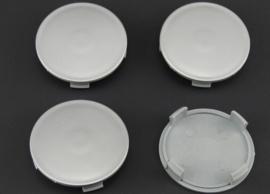 Set van 4  zilvergrijze naafdoppen, buitenmaat 75 mm en klemmaat 72,5 mm