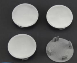Set van 4 zilvergrijze naafdoppen, buitenmaat doorsnede 64,5 mm en klemmaat 55 mm