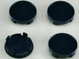 Set van 4 zwarte naafdoppen, buitenmaat doorsnede 53,7 mm en klemmaat 51,5 mm