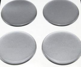 Zilvergrijze siliconen stickers, set van 4, zelfklevend, 55 mm doorsnede