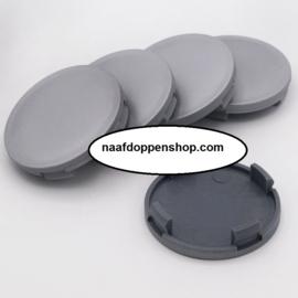Set van 4 zilvergrijze naafdoppen, buitenmaat doorsnede 53,8 mm en klemmaat 49,5 mm