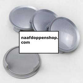 Set van 4 zilvergrijze naafdoppen, buitenmaat 75 mm en klemmaat 69,5 mm