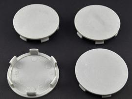 Set van 4 lichtgrijze naafdoppen, buitenmaat 59 mm en klemmaat 57 mm