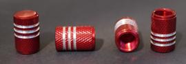 Set van vier alu ventieldopjes in rood metallic met zilverkleurige ringen