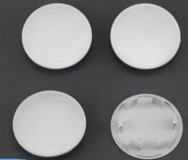 Set van 4 zilvergrijze naafdoppen, buitenmaat 76,1 mm en klemmaat 59,7 mm