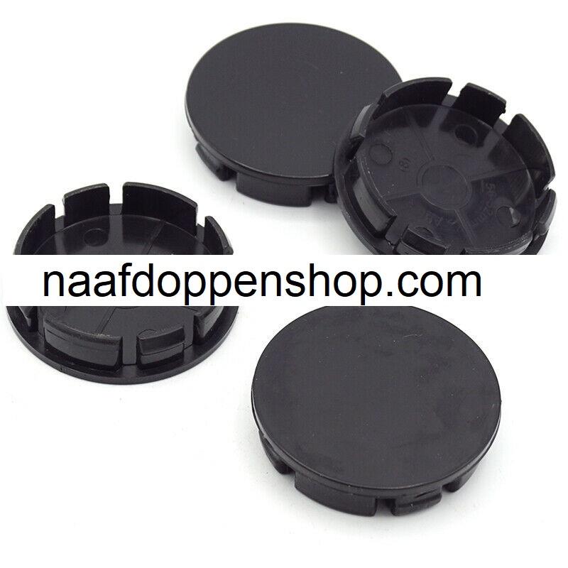 Set van 4 zwarte naafdoppen, buitenmaat doorsnede 55 mm en klemmaat 52 mm