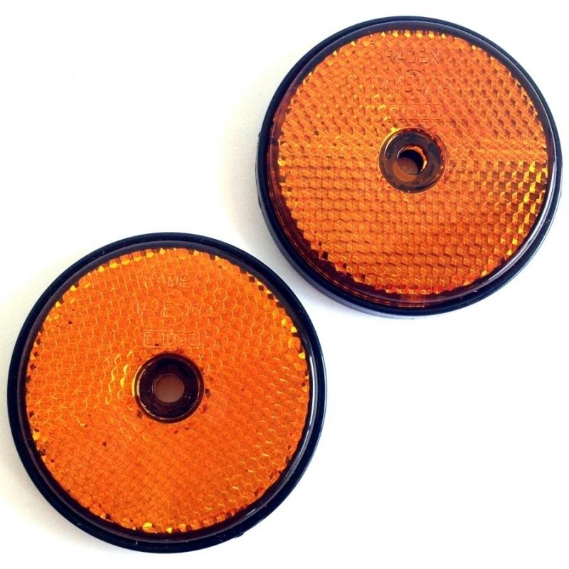 Set van twee ronde oranje reflectors/kattenogen, doorsnede 60 mm