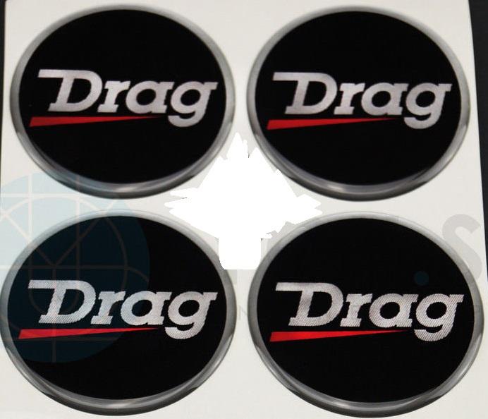 Siliconen embleemstickers Drag motief, set van 4, zelfklevend, 55 mm doorsnede