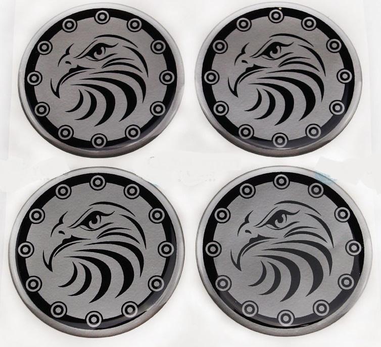 Siliconen logostickers adelaar, set van 4, zelfklevend, 55 mm doorsnede