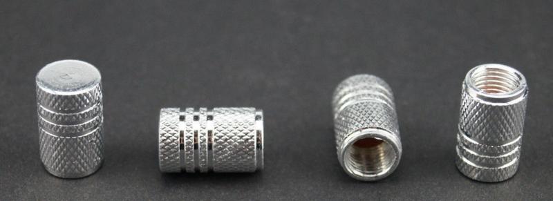 Set van vier alu ventieldopjes, zilverkleur