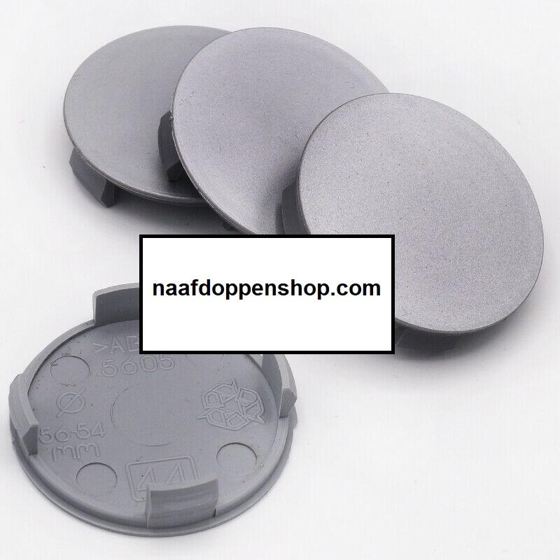 Set van 4 zilvergrijze naafdoppen, buitenmaat doorsnede 56 mm en klemmaat 54 mm