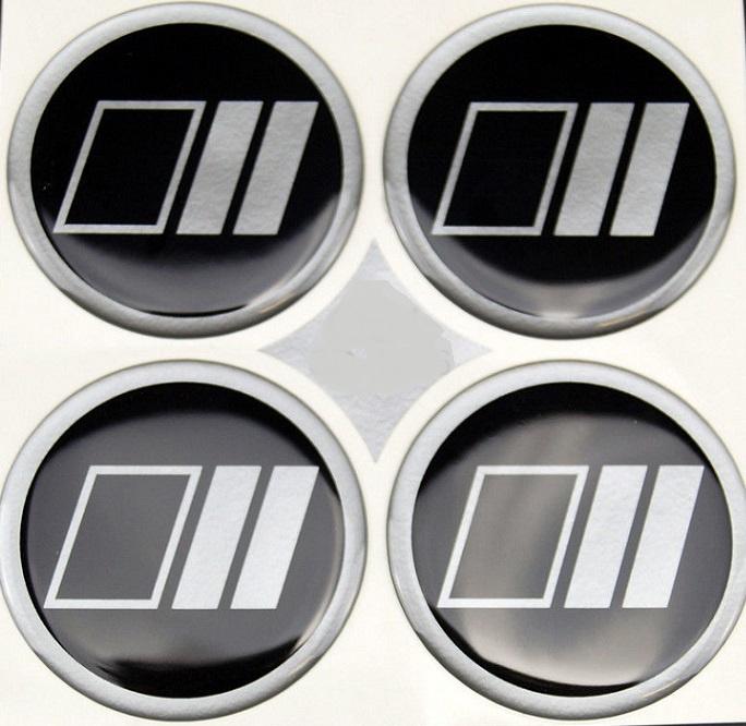 Zwart/alugrijs streep met vlak patroon, siliconen logostickers, set van 4, zelfklevend, 60,3 mm doorsnede