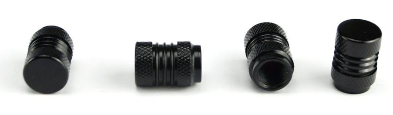 Set van vier alu ventieldopjes in zwart