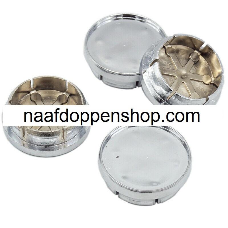 Set van 4 chroomkleurige naafdoppen, buitenmaat doorsnede 49 mm en klemmaat 42 mm