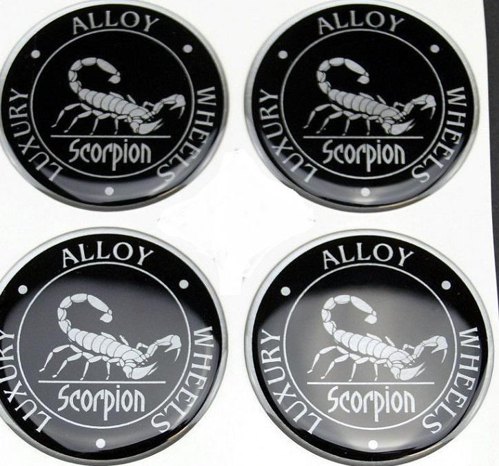 Siliconen logostickers Scorpion motief, set van 4, zelfklevend, 64 mm doorsnede