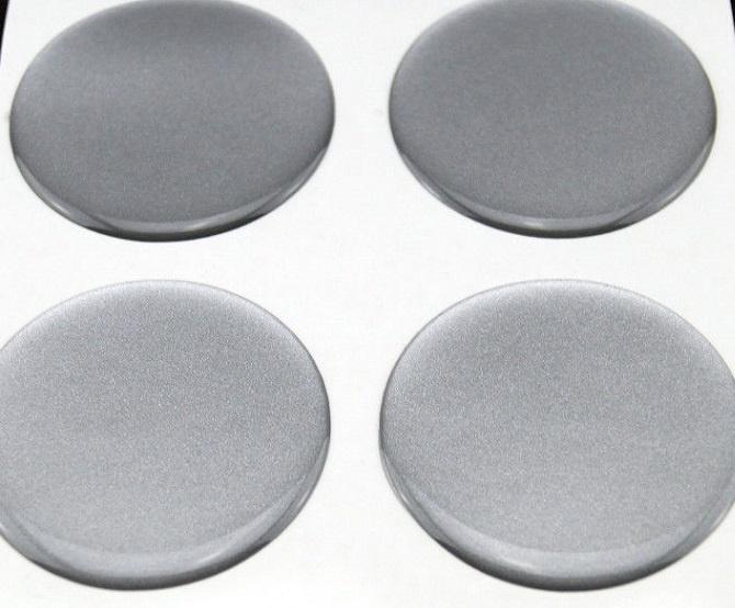 Zilvergrijze siliconen stickers, set van 4, zelfklevend, 60 mm doorsnede