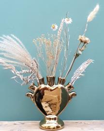 Tulpenvaas hart Goud + droogbloemen Naturel