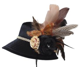 Boerenbruiloft hoedje Zwart/Bruin/Vlinder