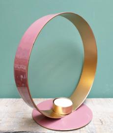 Waxinelichthouder Cirkel metaal/emaille Roze