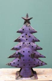 Kerstboom gerecycled blik 40 x 28 Paars