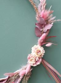 Droogbloemen krans Roze 38 cm