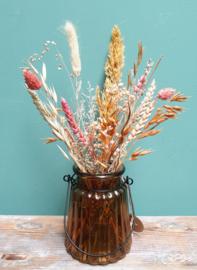 Bruin vaasje met droogbloemen Naturel/Oranje