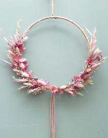 Droogbloemen krans Roze/Donkerroze 38 cm