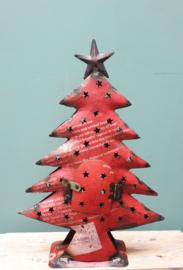 Kerstboom gerecycled blik 40 x 28 Rood