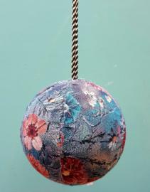 Kerstbal stof blauw