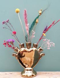 Tulpenvaas hart Goud + droogbloemen Multi