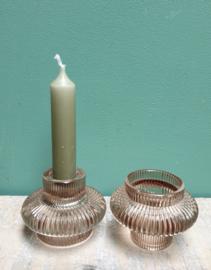 Glazen Kandelaar/waxinelicht Lichttaupe